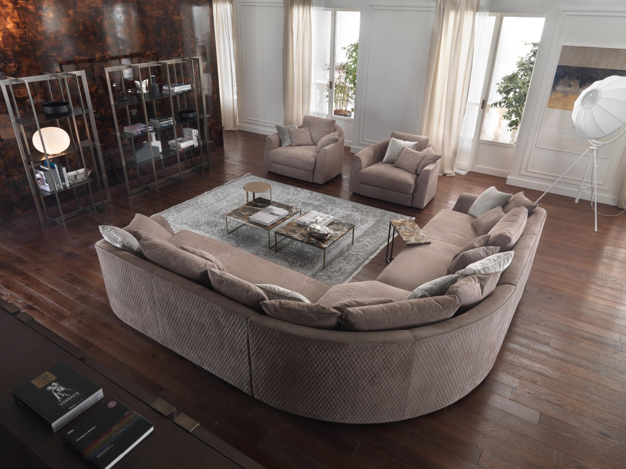 Quilted leather nabuk corner sofa Roger, Roger