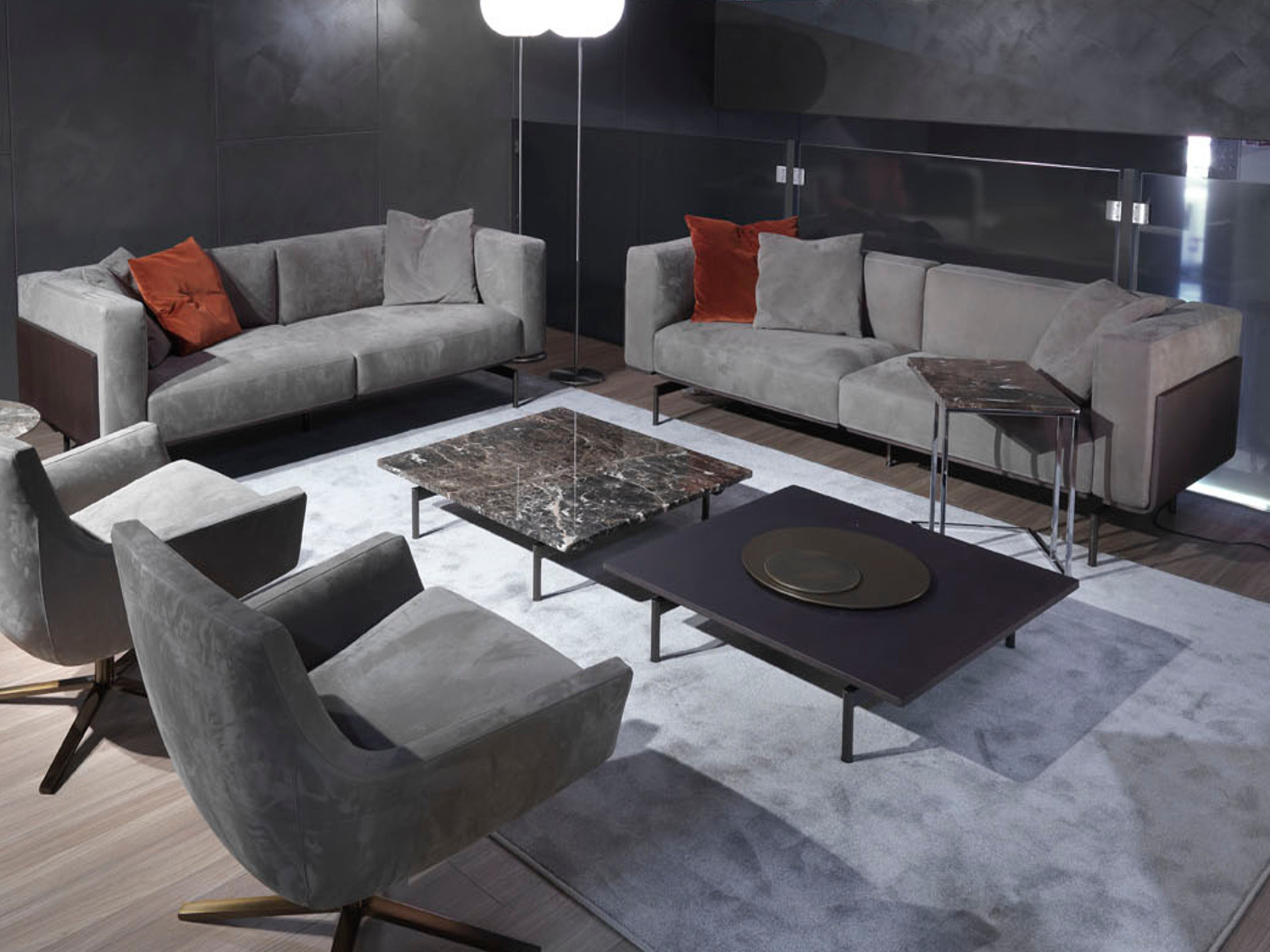 Design linear sofa leather nabuk wooden panels L-sofa