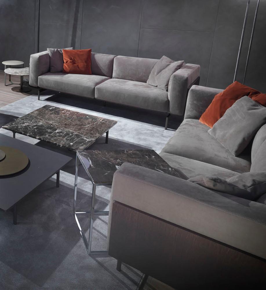 Divano Pelle Basamento Metallo Showtime : Divano design pelle nabuk panelli legno marrone l sofa