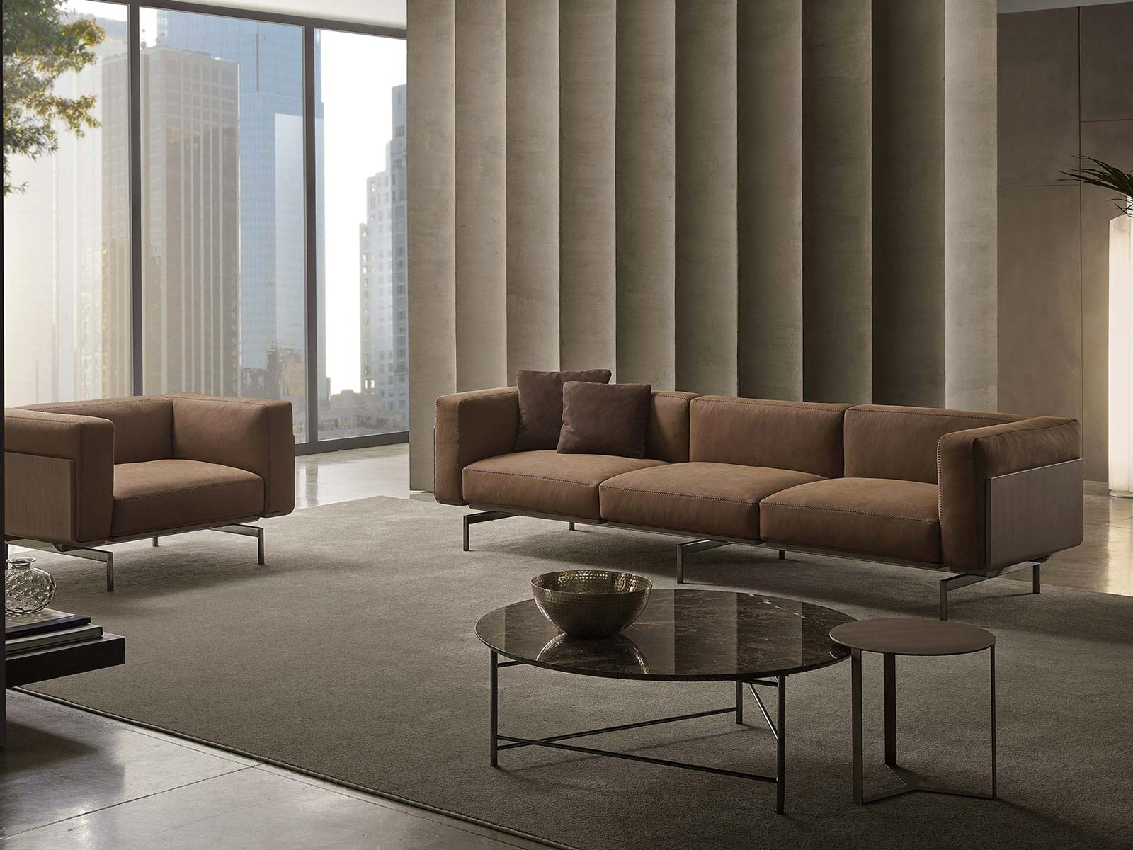 Design linear sofa leather wooden panels L-sofa