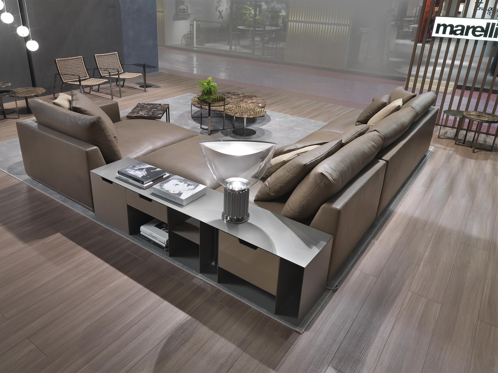 Divano angolare di design in pelle con mobile loft loft for Divani in pelle di design