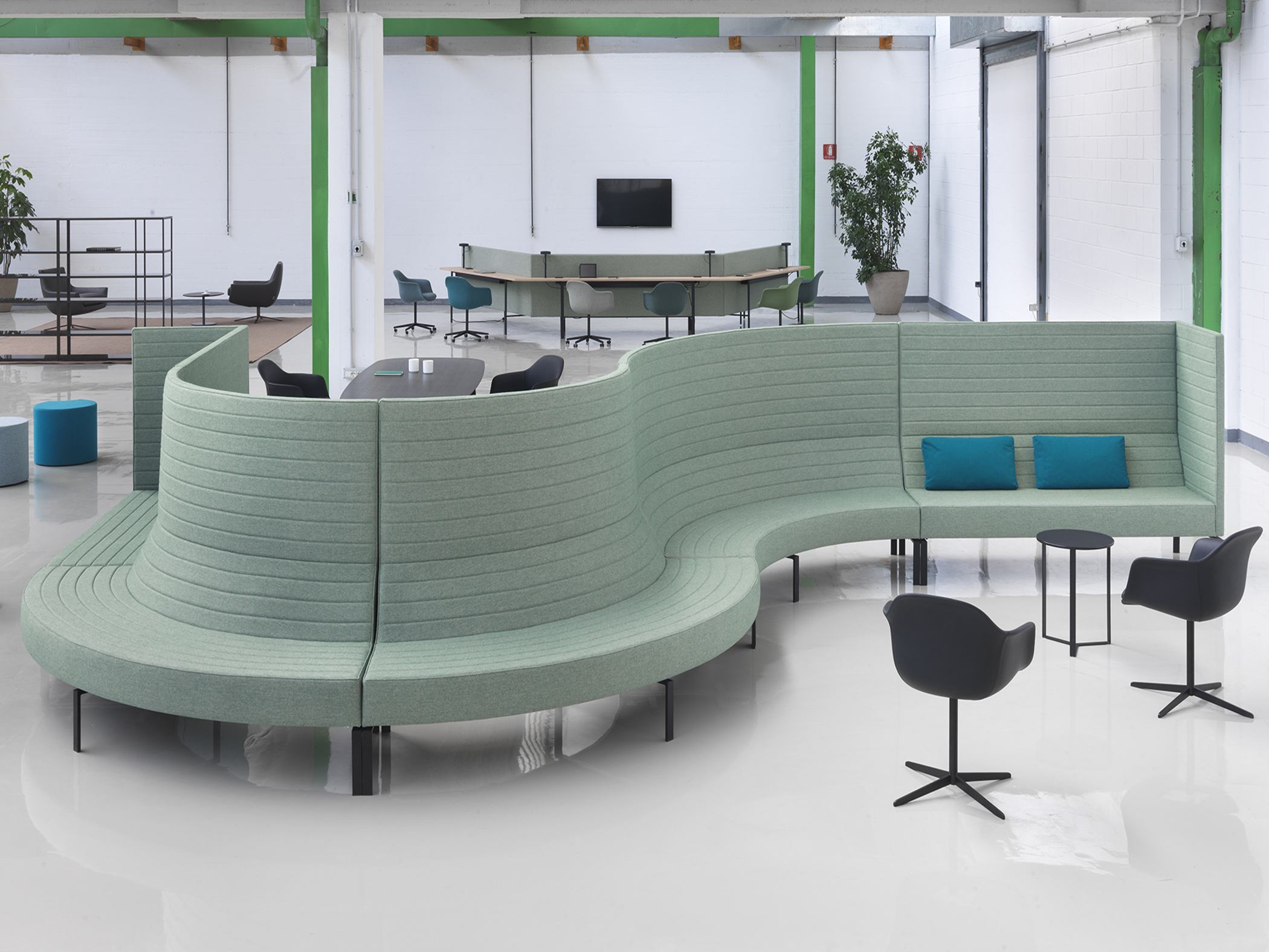 Divano contract coworking tessuto design Stripes