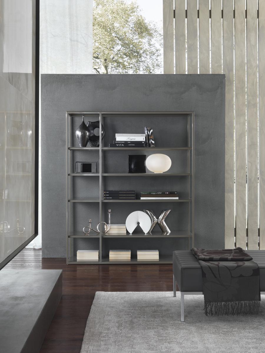 Libreria Metallo E Vetro.Libreria Con Top In Vetro E Base Metallo Frame Frame