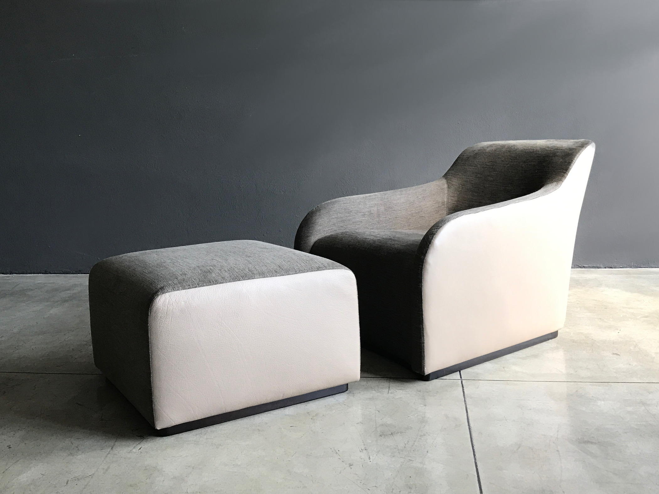 Low version design armchair leather fabric Ribot, Ribot low