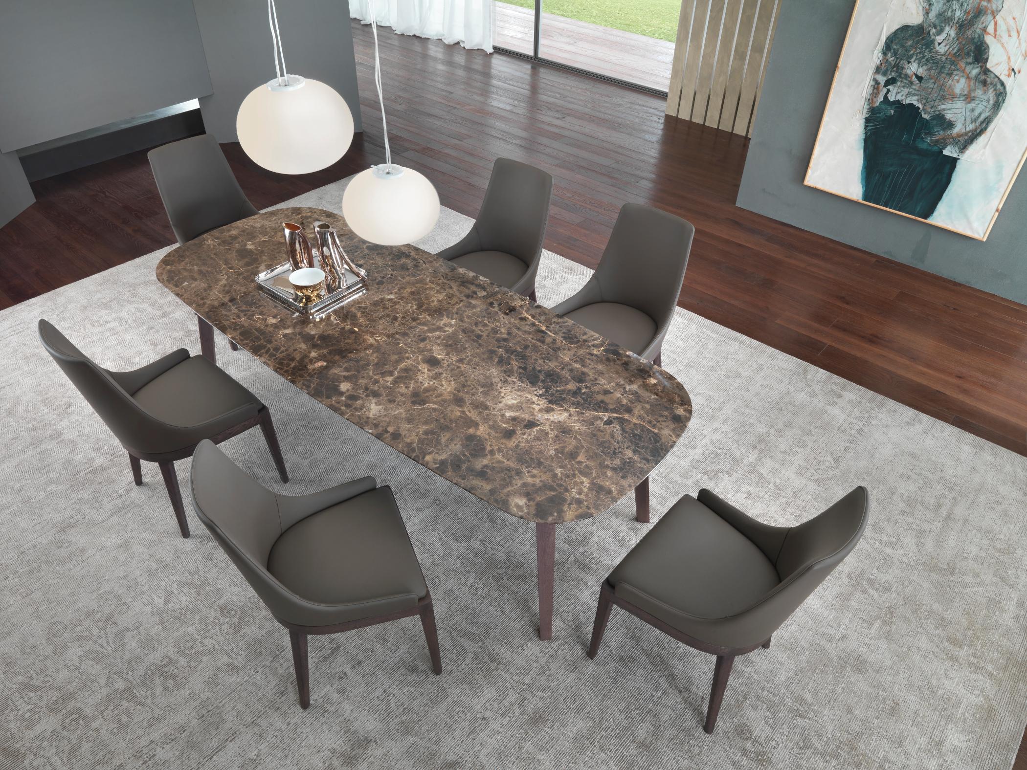 Tavolo da pranzo con top in marmo mike mike