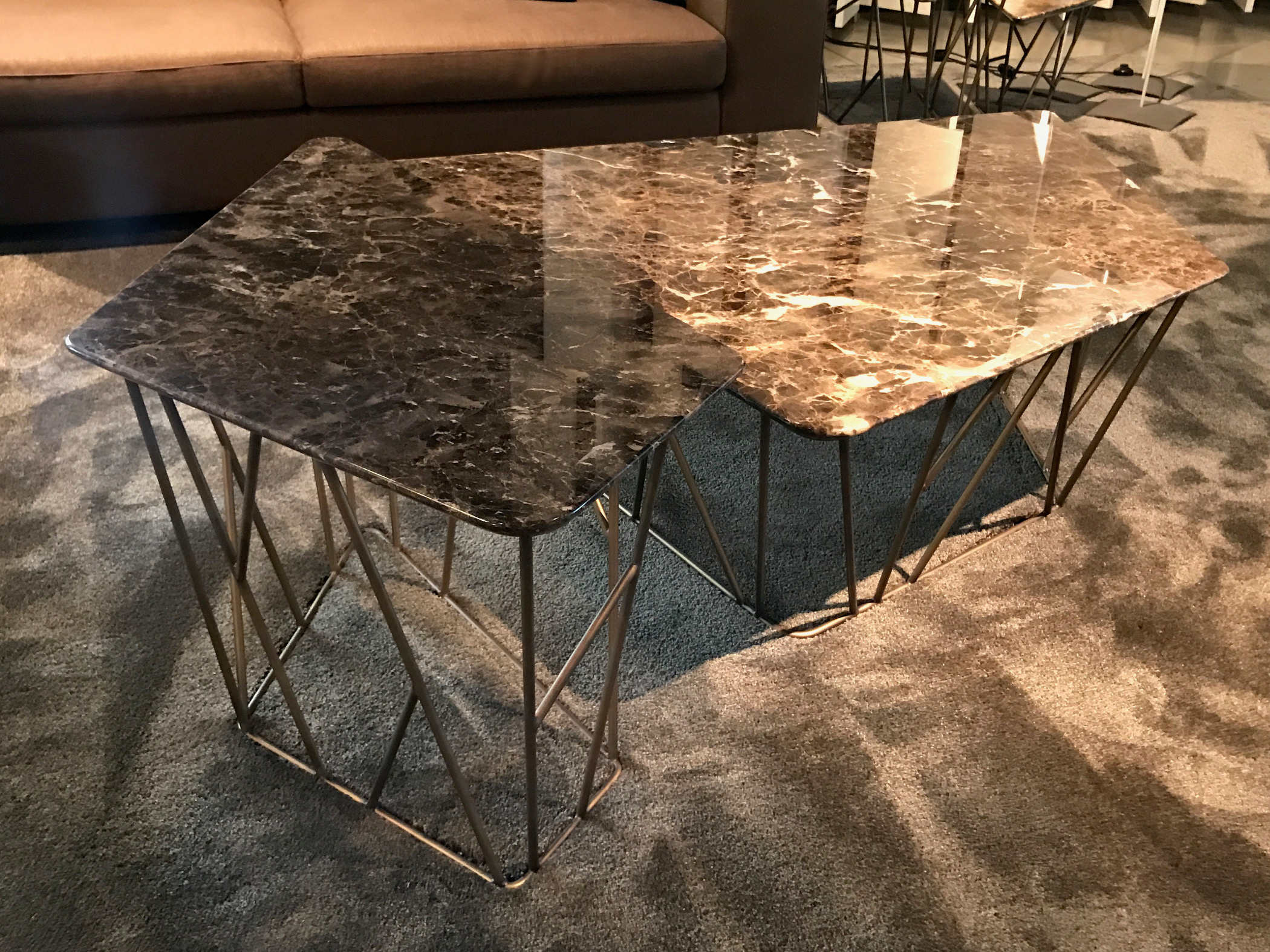 Triangular coffee table with marble / metal top Twig